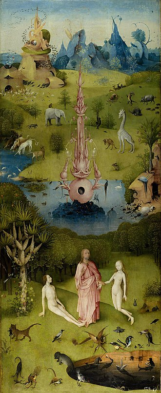 Garden of Eden - The Garden of Eden as depicted in the first or left panel of Bosch's The Garden of Earthly Delights triptych. The panel includes many imagined and exotic African animals.