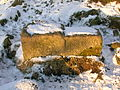 Hill of Beith Castle - worked stone - gatepost.JPG