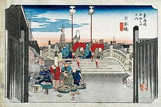 Edo - Nihonbashi in Edo, ukiyo-e print by Hiroshige