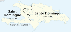Parsley massacre - The French colony of Saint-Domingue in the Western coast, and the Spanish colony of Santo Domingo in the rest of Hispaniola island.