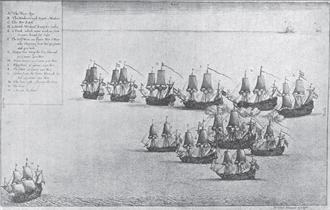 Battle of Cádiz (1669) - Engraving of the battle by Wenceslaus Hollar, an eyewitness