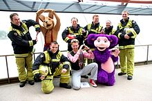 Members of the Hooley Dooleys with firefighters of Fire and Rescue NSW, 2007