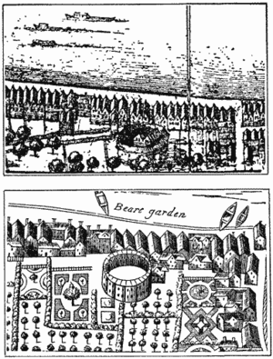 Hope Theatre - Hope playhouse depicted on Hollar's Post-conflagration map in the Crace Collection of the British Museum; the lower view is from Faithorne's Map of London (1658)