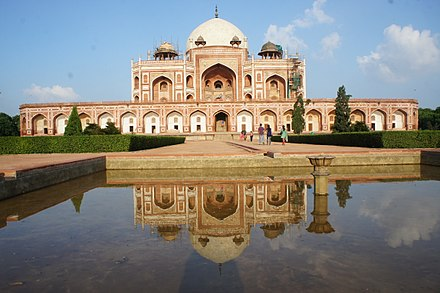 Humayun's Tomb, Delhi, the first fully developed Mughal imperial tomb, 1569-70 CE Humayun Tomb in Delhi-Front view.JPG