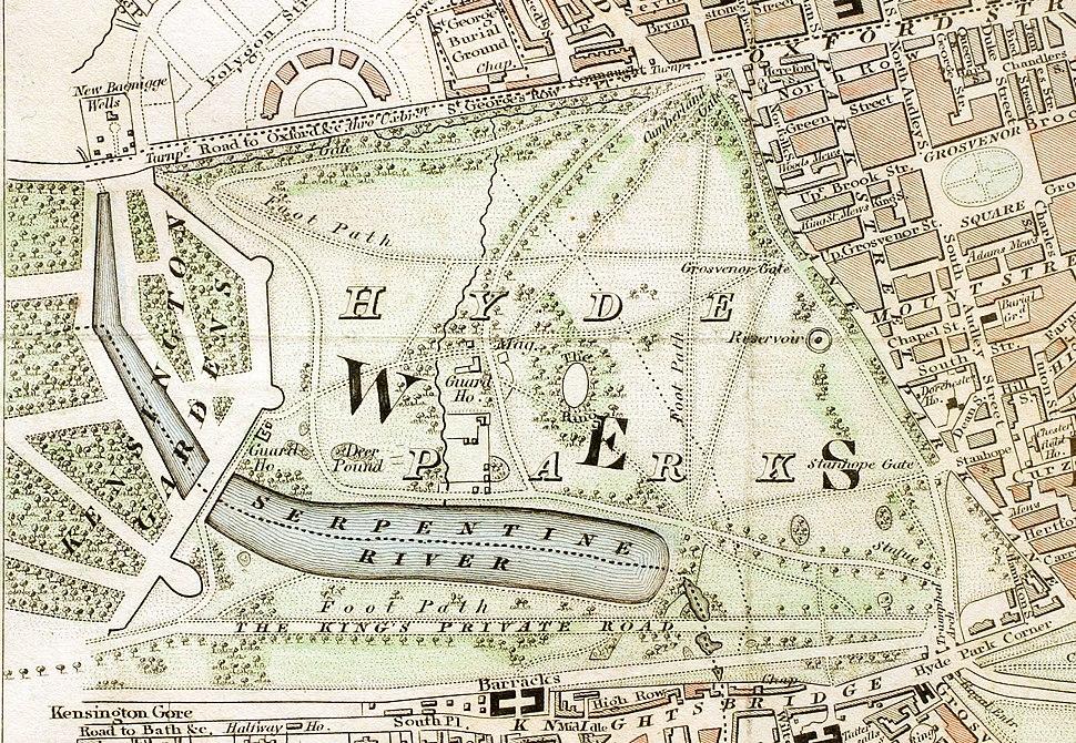 Hyde Park London from 1833 Schmollinger map