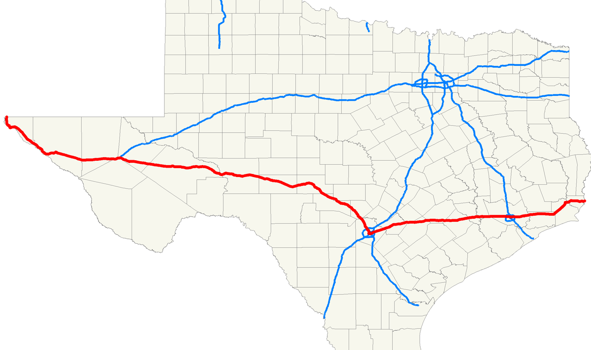 Interstate In Texas Wikipedia - Texas interstate map