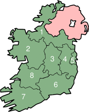 NUTS 3 statistical regions of the Republic of Ireland - The eight NUTS 3 regions