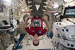 ISS-50 Thomas Pesquet poses with a photo of Timothy Peake in the Kibo lab.jpg