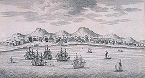 Sketch of Batavia, its harbor with ships, and hills in the background