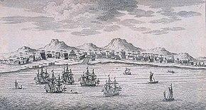 Boceto de Batavia, su puerto con barcos y colinas al fondo