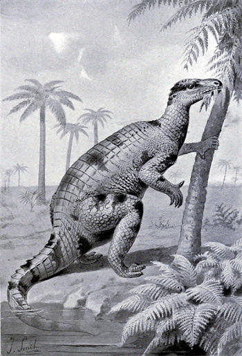 19th century illustration of Iguanodon.