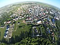 Imagine aeriană a Mănăstirii Zamca cu panorama orașului Suceava.jpg