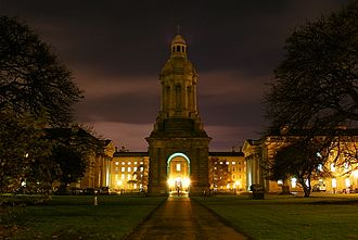 Trinity College Dublin - View of the Campanile and Parliament Square from Library Square