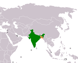 Map indicating locations of India and Bangladesh