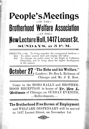 International Brotherhood Welfare Association - An IBWA poster advertising a meeting with Ben Reitman and James Eads How