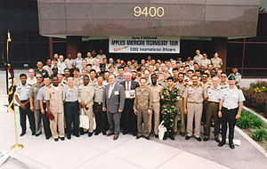 United States Army Command and General Staff College - Image: International students, class of 1998 99 (United States Army Command and General Staff College, Fort Leavensworth, Kansas) on a class trip to Burns & Mc Donnell Engineering