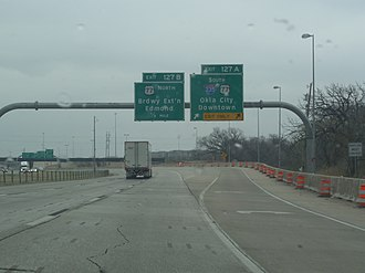 Interstate 44 in Oklahoma - Image: Interstate 44 Eastbound near I 235 in OKC