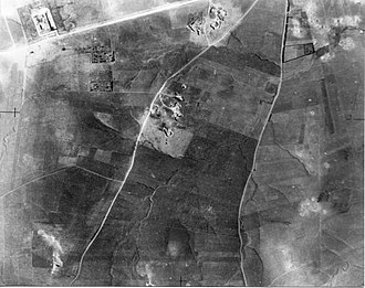 Iraq Suwaydan - Iraq Suwaydan. 1948 aerial photograph from Palmach archives. Police Station top left. Signs of Negba battles to right.