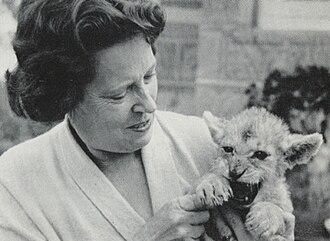 Mara the Lioness - Irene Grindlay hand rears Mara the Lioness, 1965