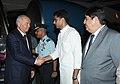 Islam Karimov being received by the Minister of State for Communications and Information Technology, Shri Sachin Pilot, on his arrival, at the Air Force Station Palam, in New Delhi on May 17, 2011.jpg