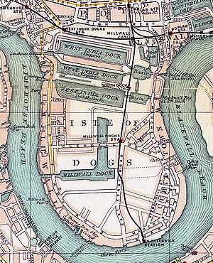 London Docklands - Isle of dogs showing the West India Docks and the Millwall Dock in 1899