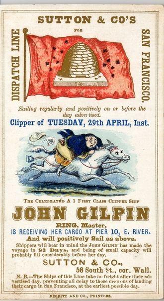 John Gilpin - John Gilpin clipper ship card