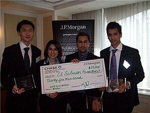 El Salvador Project - Winners of the JP Morgan Global Good Venture Competition 2009 in New York City: Adam Yang, Feroza Kassam, Raz Jabary, Mohammad Mahbub (l-r).