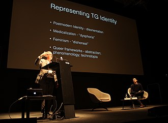 """Jack Halberstam - Image: Jack Halberstam lecturing on the topic """"Trans* Bodies"""", with Miquel Missé Sánchez sitting on the right, at CCCB (Centre de Cultura Contemporània de Barcelona), February the 1st 2017"""
