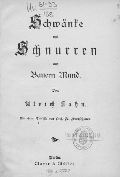 File:Jahn Schwaenke und Schnurren aus Bauernmund.djvu