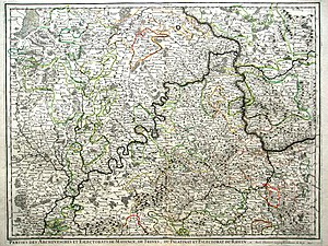 County of Virneburg - Virneburg visible in a map from 1696. (A.-H. Jaillot)