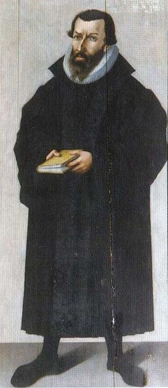 Origins of ecclesiastical vestments - Jakob Damman (died 1591), Lutheran pastor, in black gown and ruff