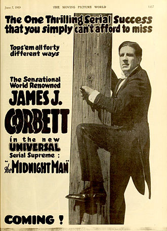 James J. Corbett - Advertising for The Midnight Man (1919).