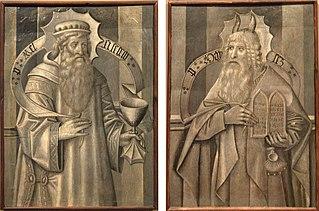 Compartiment del revers de la predel·la de Santa Maria de Ripoll amb Melquisedec i Moisès
