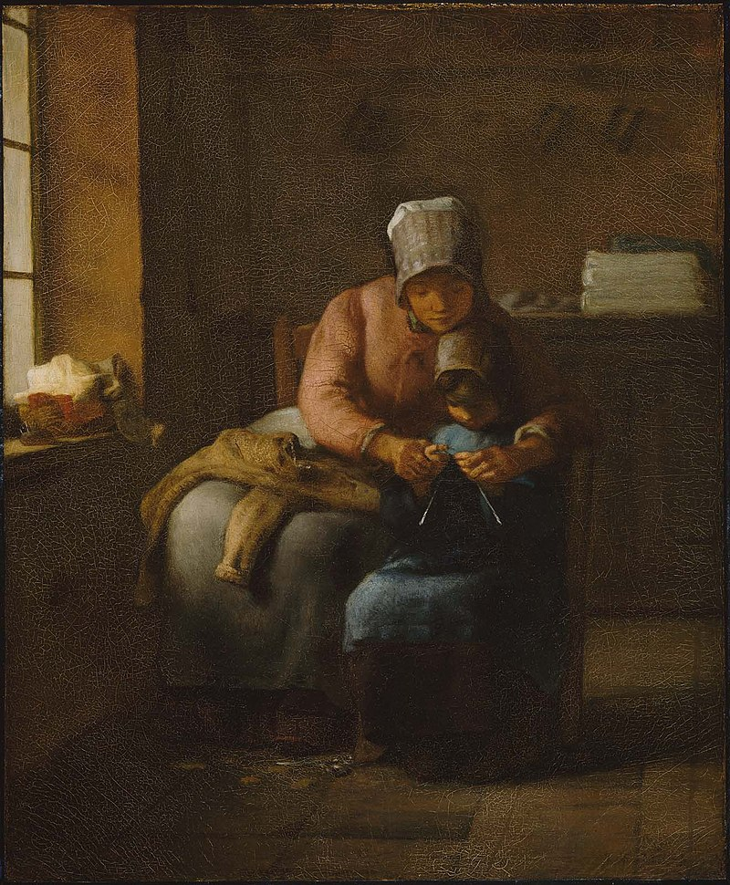 Ca s'est passé en octobre ! 800px-Jean-Fran%C3%A7ois_Millet_-_Knitting_Lesson_-_06.2423_-_Museum_of_Fine_Arts