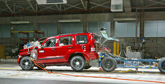 Rear-end collision - Jeep Liberty undergoing rear-end crash testing at Chrysler's Proving Grounds