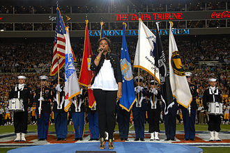 "Jennifer Hudson - Jennifer Hudson's first public appearance after the murder of three family members, including her mother, sings the ""National Anthem"" at Super Bowl XLIII"