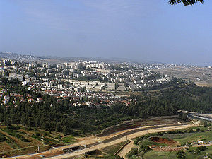 Ramot, Jerusalem - View of the oldest part of Ramot from the Begin road highway. The highway is also visible.
