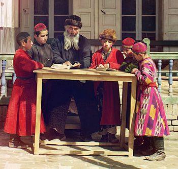 Jewish Children with their Teacher in Samarkand cropped.jpg