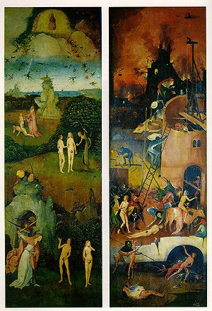 Christian views on hell - Hell (on the right) is portrayed in this 16th-century Hieronymus Bosch painting.