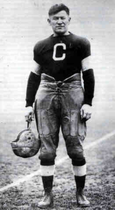 Thorpe posing in his football uniform in the late 1910s or early 1920s.