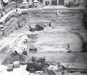 John Mackintosh Square - The construction of an air-raid shelter beneath John Mackintosh Square (then known as Commercial Square) in 1939 (looking east).