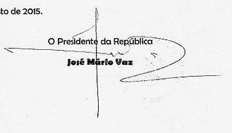 José Mário Vaz - Image: José Mário Vaz Assinatura de presidente da Guiné Bissau