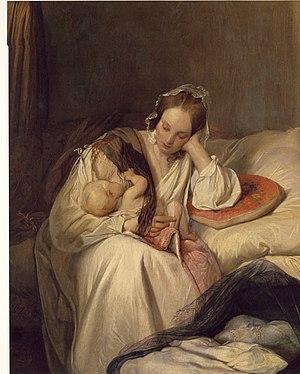 Josef Danhauser - Die Mutterliebe (oil on canvas, 1839)