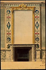 Design for a fireplace with mirror in Empire style