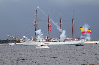 Pensacola, Florida - The Spanish Navy training ship Juan Sebastian de Elcano fires a 21-gun salute in honor of Pensacola's 450th anniversary in 2009.