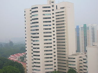 Environmental issues in Singapore - A housing estate in Jurong East being shrouded in haze, photographed October 15, 2006