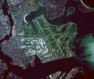 Logan International Airport - Aerial view of Logan International Airport, before runway 14/32 was built