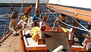 John Kerry - A young John Kerry (in white) aboard the yacht of John F. Kennedy, in 1962