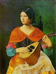Roman woman playing a mandolin