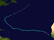 A track map of Tropical Storm Karl throughout mid- to late September